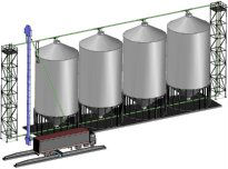 When feed blending is a requirement, a bucket elevator can be added to the grain pump to facilitate blending